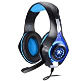 PS4 Gaming Headset, Joso 3.5mm LED Light Over-Ear Headphones with Microphone/Volume Control for iPhone SE 6 6S Plus, Samsung, PC Laptop Tablet with 2-in-1 Audio and Mic Splitter Adapter-Blue