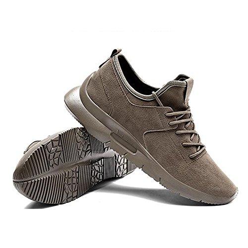 Men's Shoes Feifei Spring and Autumn Movement Heighten Casual Shoes 3 Colors(Size Multiple Choice) (Color : Khaki, Size : EU42/UK8.5/CN43)