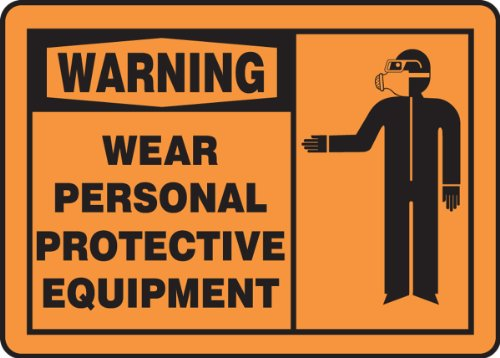 """Accuform MPPE309VP Sign, Legend """"WARNING WEAR PERSONAL PR..."""