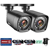 ANNKE 2pcs 720P HD-TVI Security Camera 1280TVL 1.0MP Hi-Resolution Indoor/Outdoor Bullet Camera with 66ft Super Night Vision, Weatherproof Housing