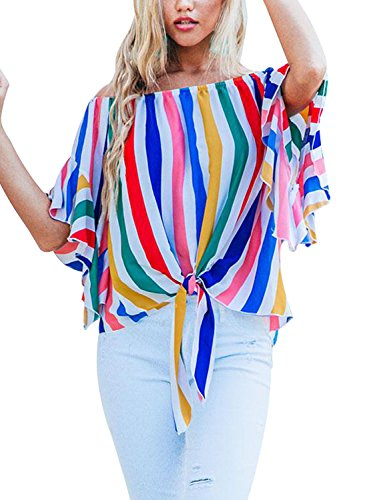4c335e8602a374 Asvivid Womens Summer Striped Off Shoulder Bell Sleeve Loose Office Tshirt  Tops Plus Size X-
