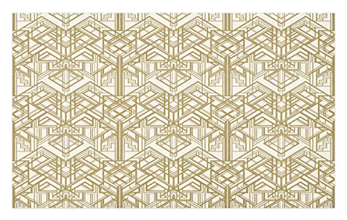 Ambesonne Geometric Doormat, 1920s Style Futuristic Retro Mix Vertically Symmetrical Design, Decorative Polyester Floor Mat with Non-Skid Backing, 30