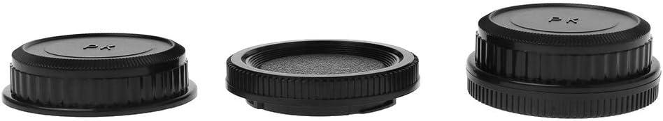 JENOR Rear Lens Body Cap Camera Cover Set Anti-dust Screw Mount Protection Plastic Black For Pentax PK DA126