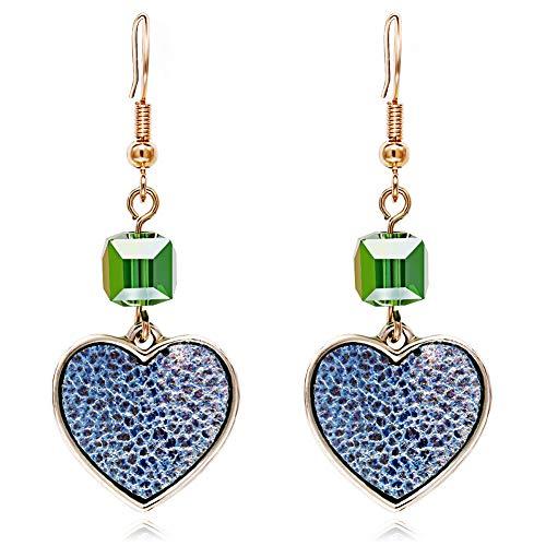 skoqjFQSen fine Workmanship and All Match Women Elegant Love Heart Pendant Hook Earrings Faux Gem Party Jewelry Charm - Golden,Great for Female Friends
