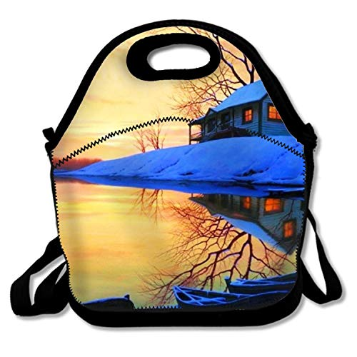 351d5967efa0 Amazon.com - IMISS Reusable Artistic Winter Boat Snow Light Lake House  Lunch Tote Bag Insulated Lunch Bag Lunch Box Tote Bag Handbag -