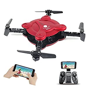 Foldable Drone with FPV Camera Live Video, Altitude Hold Flexible Foldable Pocket Quadcopter with Remote Controller, Track Controlled Mode Gravity Sensor Helicopter Toys for Adults