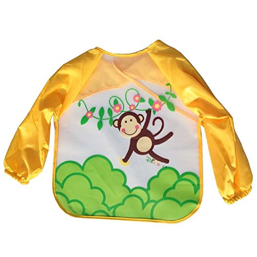 URAQT Unisex Baby Waterproof Sleeved Bib Eat and Play Smock,Toddler Apron of PEVA (Monkey Toddler Bib)