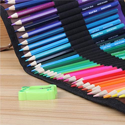 Premier Drawing Pencils with Canvas Roll-up Pouch Bag and Pencil Sharpener Artist Coloring Pencils for Adult Coloring Books Artist Sketch ARZASGO 36 Colored Pencils Set