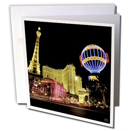 (3dRose Paris Hotel and Casin at Las Vegas Strip United States - Greeting Cards, 6 x 6 inches, set of 12 (gc_37789_2))