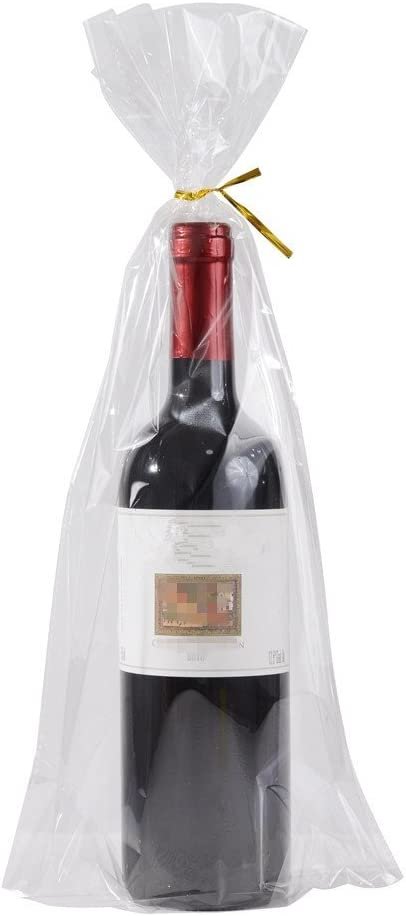 "100 Gusset Cello Bags with Ties - 2.8 mil Big Size Gift Wrap Cellophane Bag - Clear Wine Bottle Gift Bags Large for Favor (8"" x 16"" + 4"")"