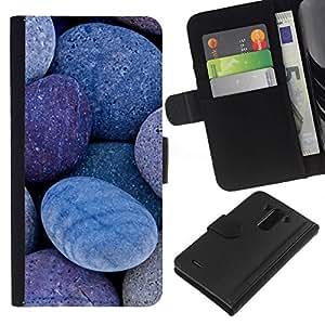 // PHONE CASE GIFT // Moda Estuche Funda de Cuero Billetera Tarjeta de crédito dinero bolsa Cubierta de proteccion Caso LG G3 / Natural Stones Pebbles Beach /