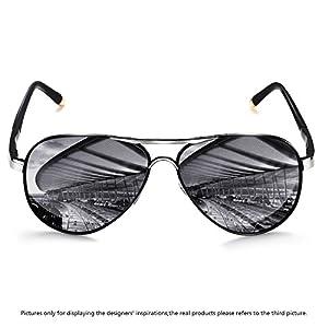 Rocknight Polarized Aviator Sunglasses for Men Women Metal Frame Flat Top Sunglasses Ultralight Silver-Silver Mirror Lens UV400 Outdoors