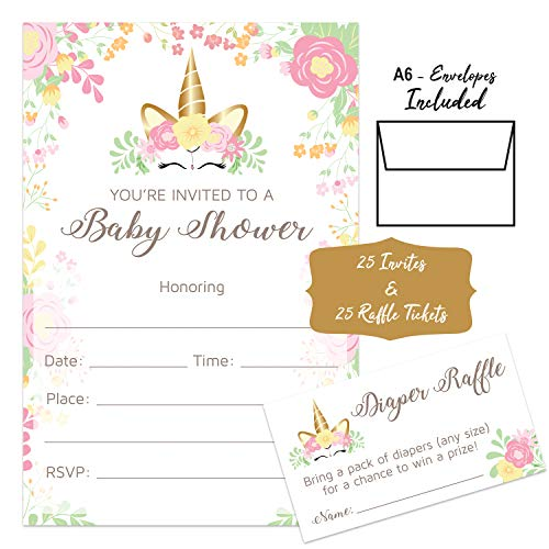 Unicorn - Baby Shower Invitations Girl with Envelopes and Diaper Raffle Tickets Included. Set of 25 Unicorn Floral Fill in The Blank Style Invites with Envelopes - Baby Shower Invitations -
