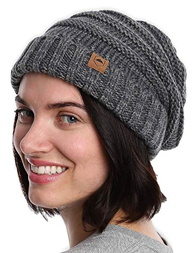 Slouchy Cable Knit Cuff Beanie - Chunky, Oversized Slouch Beanie Winter Hats for Women - Stay Warm & Stylish - Serious Beanies for Serious Style ()