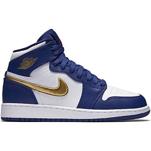 Nike Boy's Jordan 1 Retro High Basketball Shoe Deep Royal Blue/Mtlc Gold Coin-White 11C