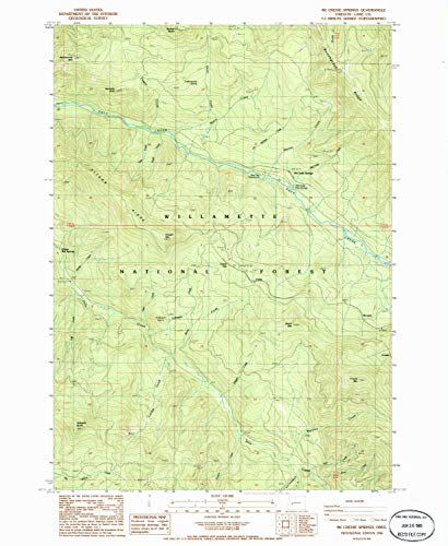 YellowMaps Mc Credie Springs OR topo map, 1:24000 Scale, 7.5 X 7.5 Minute, Historical, 1986, Updated 1986, 26.7 x 21.9 in - Paper