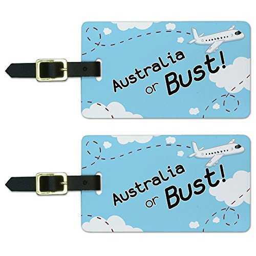 Luggage Tag Australia (Graphics & More Australia Or Bust Flying Airplane Luggage Suitcase Carry-on Id Tags, White)