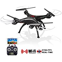 Original Syma X5SW RC 2.4G 6-Axis FPV Quadcopter Drone Helicopter Headless With 2.0MP Camera Wifi IOS&Android Sync Real Time Video-Black