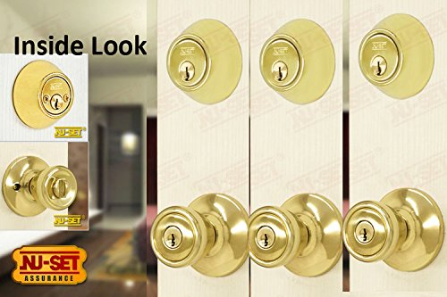 NUSet Contractor Combo Lockset, 3 Sets Of Keyed Entry Door Lock With Double  Cylinder Deadbolt, Same Key, Polish Brass