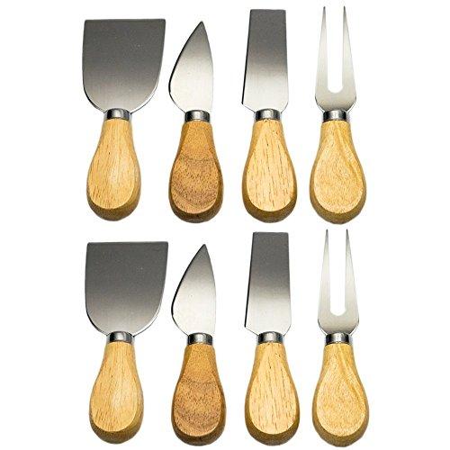 TukTek Kitchen Cheese Knife Set of 4 Stainless Steel Knives 2 Pack w/Bamboo Handles Cheese Slicer for Parties & Wine Tastings by TukTek