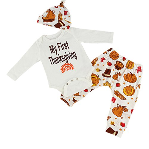 Puseky Newborn Baby Boy Girl Long Sleeve Romper+Pants+Hat Comics Clothes Outfits (6-12 Months, (Thanksgiving Outfit For Baby Boy)