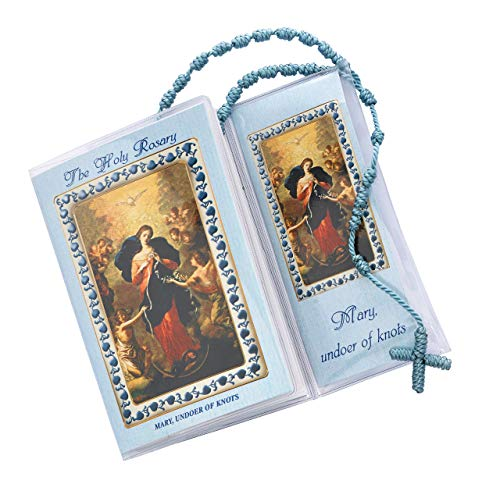 Mary, Undoer of Knots Prayer S, Blue Knotted Rosary Booklet Includes How to Pray The Rosary & The Mysteries