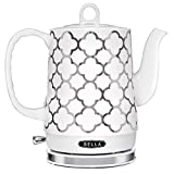 BELLA 14522 Cordless Electric Ceramic Kettle, 1.2L, White and Silver