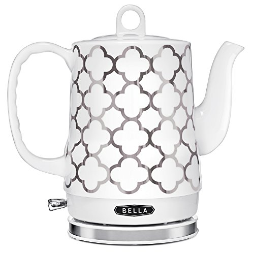 BELLA (14522) 1.2 Liter Electric Ceramic Tea Kettle with Detachable Base & Boil Dry Protection, Silver Tile