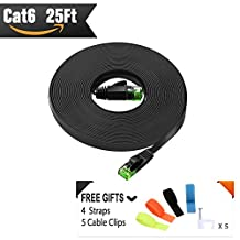Ethernet Cable 25ft Cat6 ( Green RJ45 Connector for Discrimination) Cat 6 Patch Flat Internet Cord - Computer Lan Wire with Straps and Cable Clips - Backwards Compatible with Cat 5e and Cat 5 Network