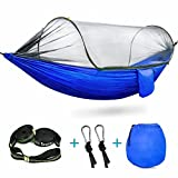 Durable Parachute Nylon Hammock: this kind of parachute nylon is more sturdy than normal ones, easy to dry, breathable material is selected to keep skin comfortable; it could bear up to 440 lbs; 290cm (Length) * 145cm (Width)Considerate Mosquito Net ...