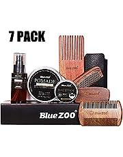 cypressen Juego de Cuidado de Barba de 7 Piezas, Incluye bálsamo Beard (30 g), Aceite para Barba (60 ml), Cepillo para Barba, Peine etc. – Caja de Regalo Mejorada