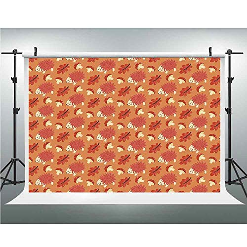 Background Photography Backdrop Studio Photo Props,Mushroom,3.28x5ft,Romantic Autumn Nature Pattern Kids Design Toadstool Hedgehog Maple Leaves -