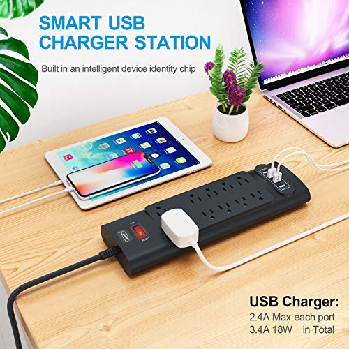 Power Strip, Bototek Surge Protector with 10 AC Outlets and 4 USB Charging Ports,1625W/13A 6 Feet Long Extension Cord for Smartphone Tablets Home,Office & Hotel- Black