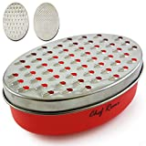 Latest Cheese Grater with Airtight Container - Rated No.1 Stainless Steel Food Grater for Hard & Soft Cheese, Vegetables, Ginger, Zesting Lemon, Orange, Nuts - Time Saving Tool for Everyday Cooks