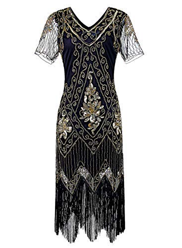 Women 1920s Flapper Dress Vintage - Sequin Fringed Gatsby Dresses Art Decor with Sleeves for Roaring 20s Party Black -