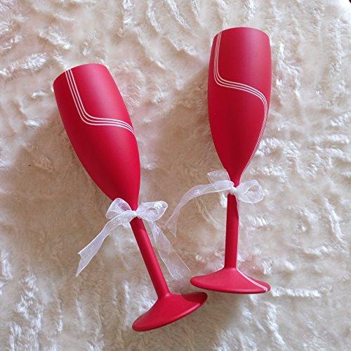 Champagne Flutes - (6 oz, 170 ml) – Flute Glass for Brunch Wine & Wedding Cocktails – Reusable Party glasses - 2 Glasses Unbreakable (Shatter Proof Food Grade Plastic)