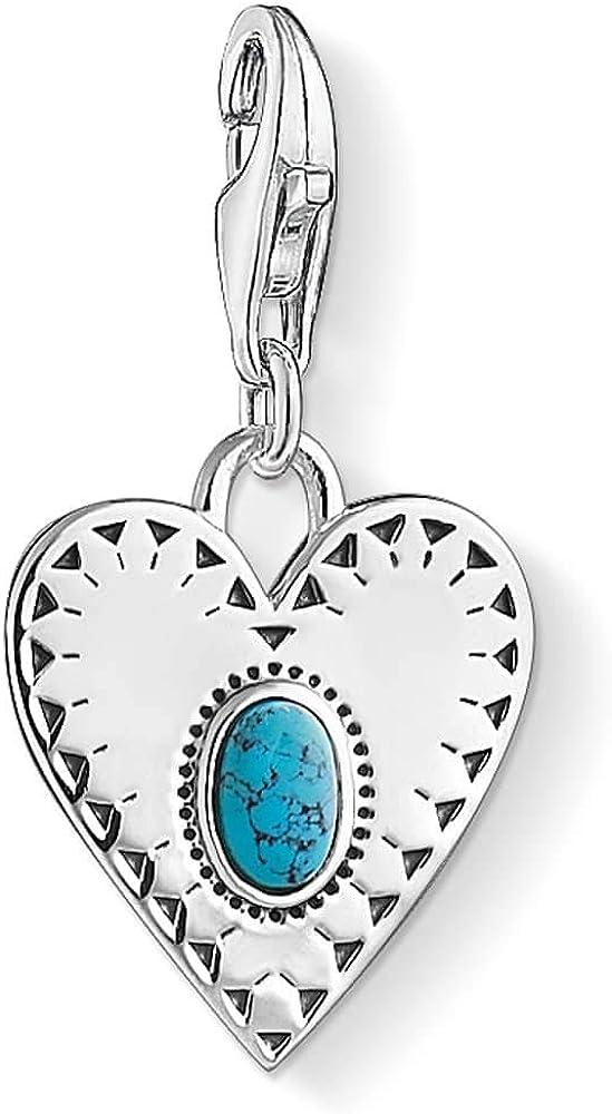 Thomas Sabo Silver Open Work Turquoise Heart Charm 1684-878-17