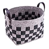 LoongBaby Felt Storage Baskets with Handles Soft Durable Toy Storage Nursery Bins Home Decorations (Plaid-G)