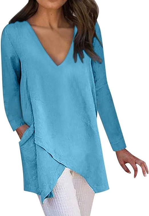 Womens Color Gradient Long Sleeve Irregular Hem Long Sleeve Pocket T-Shirt Tops