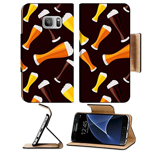Liili Premium Samsung Galaxy S7 Flip Pu Leather Wallet Case ID: 27395220 dark and red beers seamless pattern (Justin Lager)