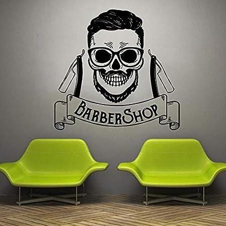 Peluquería Estilo de peinado Cabello Hombres Barba Vinilo Etiqueta de la pared Ventana de la tienda | Adecuado para la sala de estar TV Fondo Decoración del dormitorio