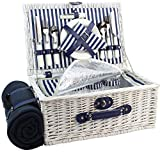 HappyPicnic Willow Picnic Basket for 4 Persons | Large Wicker Hamper Set with Big Insulated Cooler Compartment, Free Fleece Blanket and Cutlery Service Kit- Fashionable White