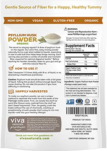 Viva Naturals Organic Psyllium Husk, 24 oz (1.5 lb) - Everyday Fiber Support, Finely Ground for for Easy Mixing by Viva Naturals (Image #2)