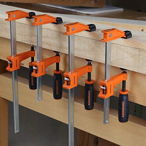 JORGENSEN 4-pack Steel Bar Clamps Set, 6-inch & 12-inch Medium Duty, 600 Lbs Load Limit
