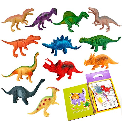 Creative Adventure Realistic Looking 7 Dinosaur Toys for Boys Girls Kids & Toddlers Age 3 4 5 6 Year Old & Up - Pack of 12 with Re-usable Dinasors Water Coloring Book