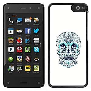 Caucho caso de Shell duro de la cubierta de accesorios de protección BY RAYDREAMMM - Amazon Fire Phone - Cráneo Teal blanco del estampado de flores de la Muerte