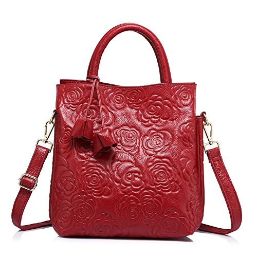 Designer Genuine Leather Handbag Women Tote Bag Floral Embossed Shoulder Bag by Realer Red