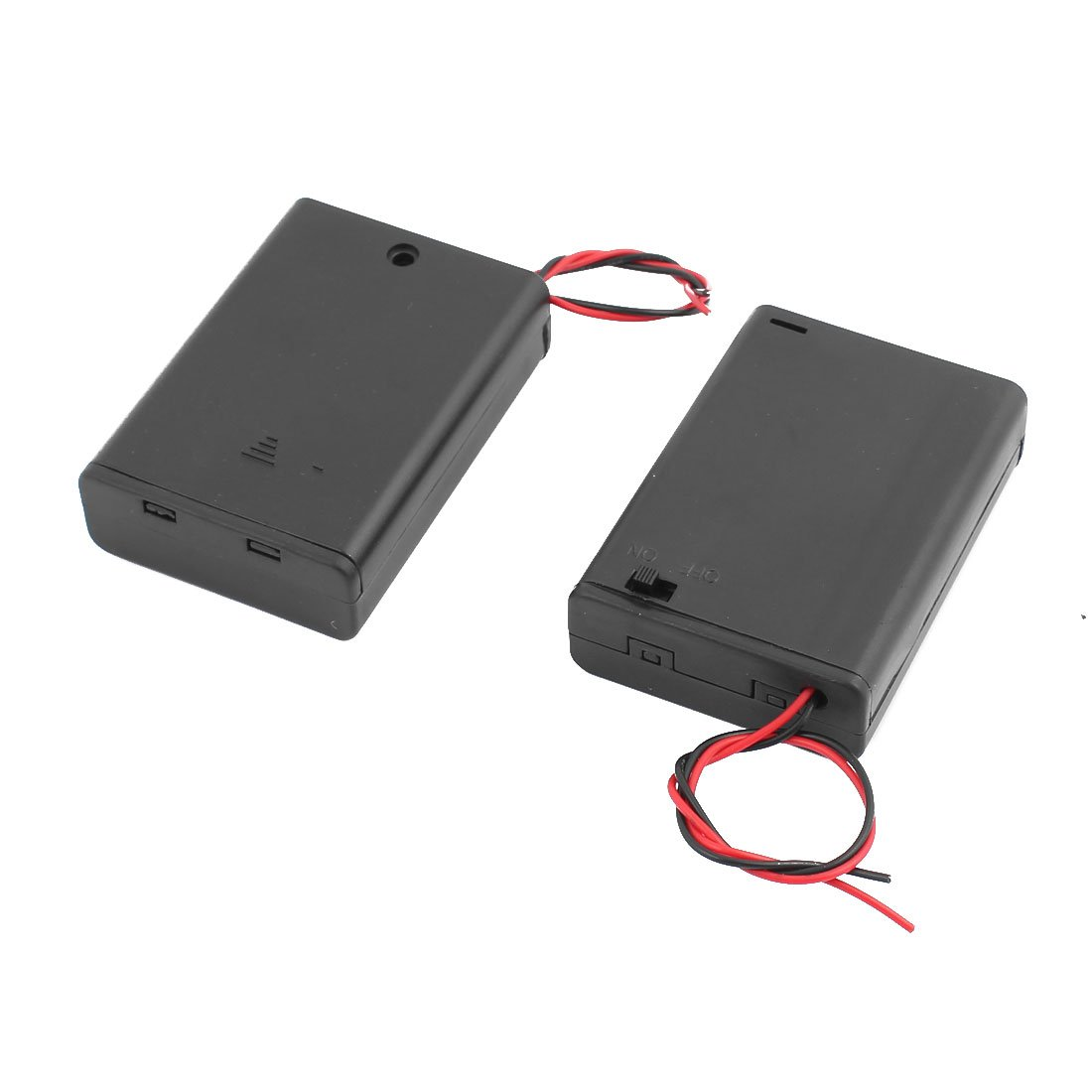 sourcingmap 2 Pcs ON/OFF Switch 2 Wires Batteries Holder Box w Cover for 3 x 1.5V AA Battery