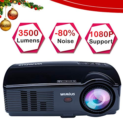 "Projector, WiMiUS 3500 Lumens HD Video Projector with 200"" Projection Size Home Theater Projector Support 1080P HDMI VGA AV USB TV Laptop Games and Smartphones with Longer Lifespan from WiMiUS"