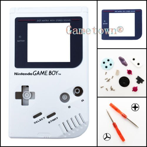 Full Housing Cover Case - Gametown® Full Housing Shell Cover Case Pack with Screwdriver for Nintendo Gameboy Classic/Original GB DMG-01 Repair Part-White